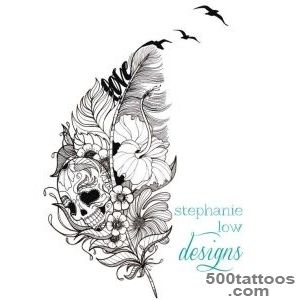 Customizable Tattoo design Feather  Flower  etc by SlowDesigns _25