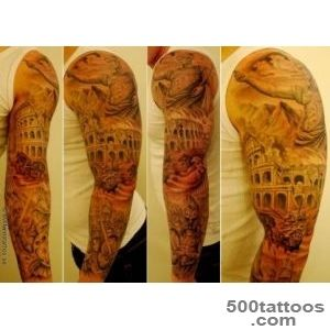 Awesome full tattoo sleeve with Gaius Julis Caesar, The Colosseum _24