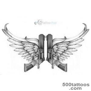 Gun Tattoo – Guns With Angel Wings Design  Tattooshuntercom_34