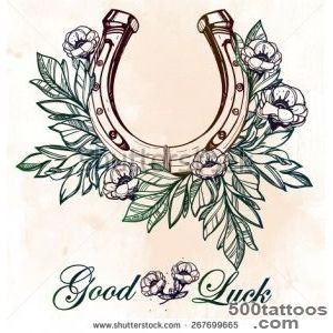 Beautiful Good Luck Horseshoe Amulet Charm With Flowers And Leaves _27