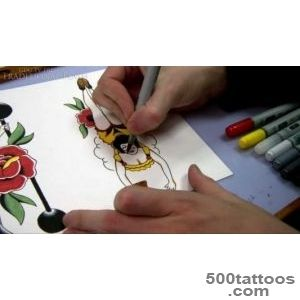 Speed Painting Tutorial   How to Paint a Pin up Tattoo Design with _9