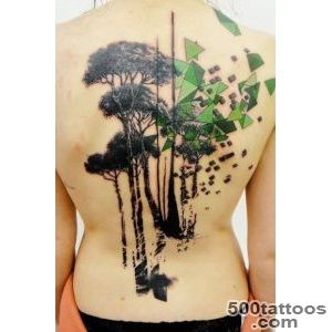 Black Ink Nature Trees Tattoo On Full Back_33