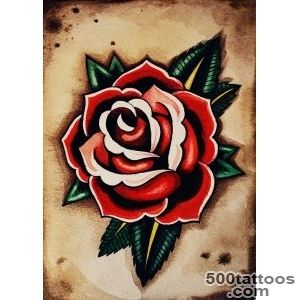 Classic Old School Rose Tattoo Design   Tattoes Idea 2015  2016_49