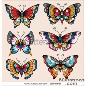 Set of old school tattoo art butterflies for design and decoration _17
