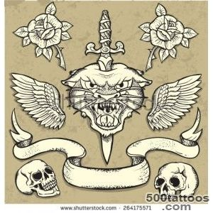 Set Of Old School Tattoo Elements With Roses And Skulls Stock _46