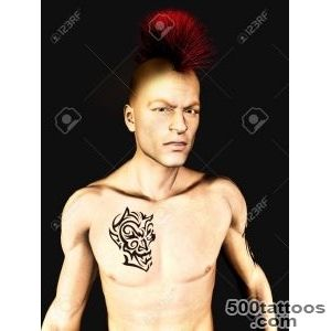 A Male Punk Rocker With A Mohawk Hair And A Tattoo On His Arm _29