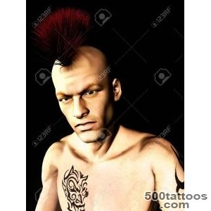 A Male Punk Rocker With A Mohawk Hair And A Tattoo On His Arm _36