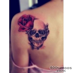 Pretty red rose with skull tattoo on shoulder blade   Tattooimagesbiz_18