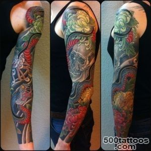 Elegant tattoo with a skull and a snake in oriental style   Skull _16
