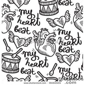 Heart Organ Cute Tattoo Rock N  Roll Pattern Stock Vector _46