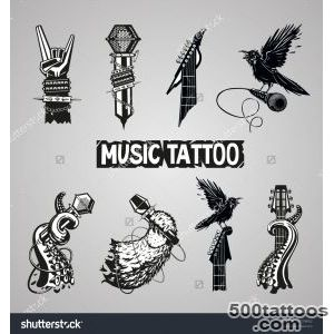 Music Tattoo Collection Isolated Rock Sign Set For Music Fans _8