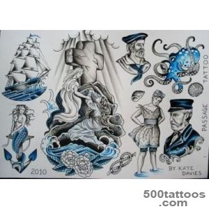 Nautical tattoo Flashrock of agesshipmermaid  Vintage Tattoo _31