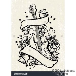 Roses amp Guitar Rock amp Roll Tattoo Template Stock Vector _33