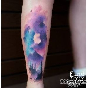 Space amp Trees Shin Tattoo  Best tattoo ideas amp designs_11