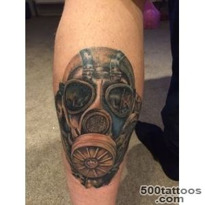 Gas mask stalker tattoo full colour leg tattoo  2015 tattoos _6