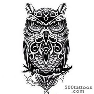Black And White Owl Totem Printed Tattoo Sticker Waterproof Sexy _21