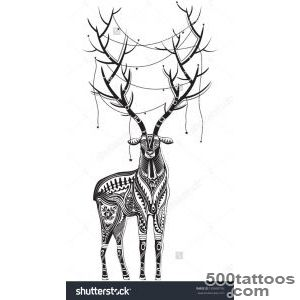 Vector Illustration Of A Totem Tattoo Wild Animal   Deer _29