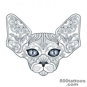 Tattoo head sphinx cat with floral ornaments vector by _25