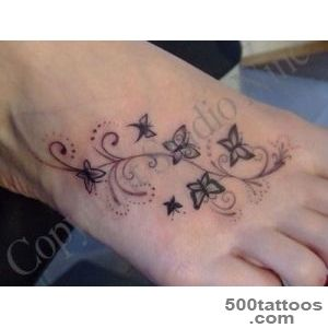 Attractive Black Flying Butterfly Tattoo On Foot_38