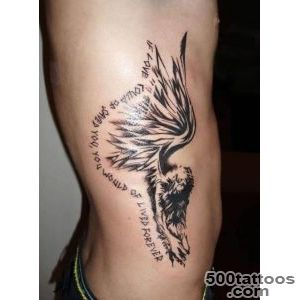 Fascinating Angel Wings And Text Tattoo Design Image Make On Men#39s _36