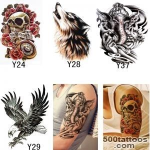4Pcs Skull Wolf Eagel Sticker For Body Transferable Tattoos _16