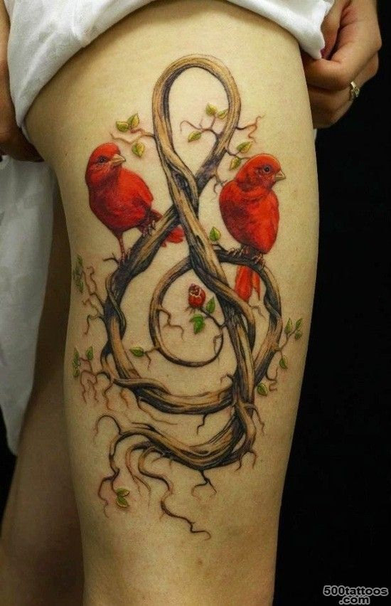 Awesome red birds and treble clef tattoo on thigh   Tattooimages.biz_33