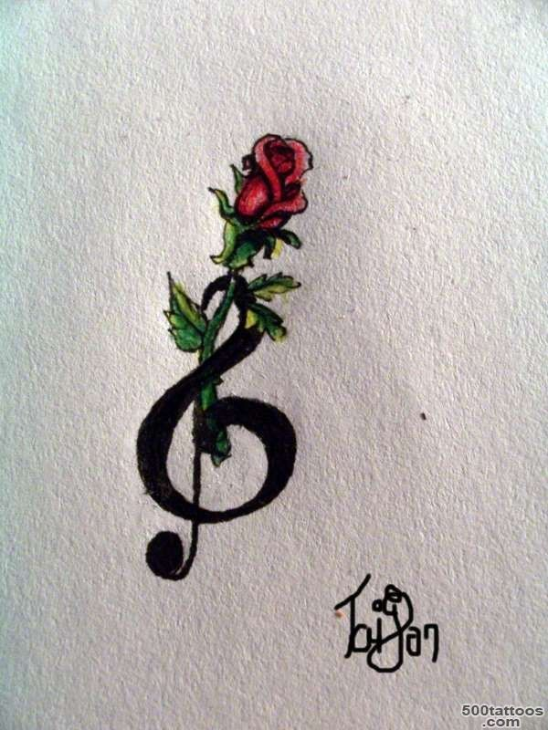 Black Treble Clef Heart With Rose Tattoo Stencil By Karcoolkaaa_23