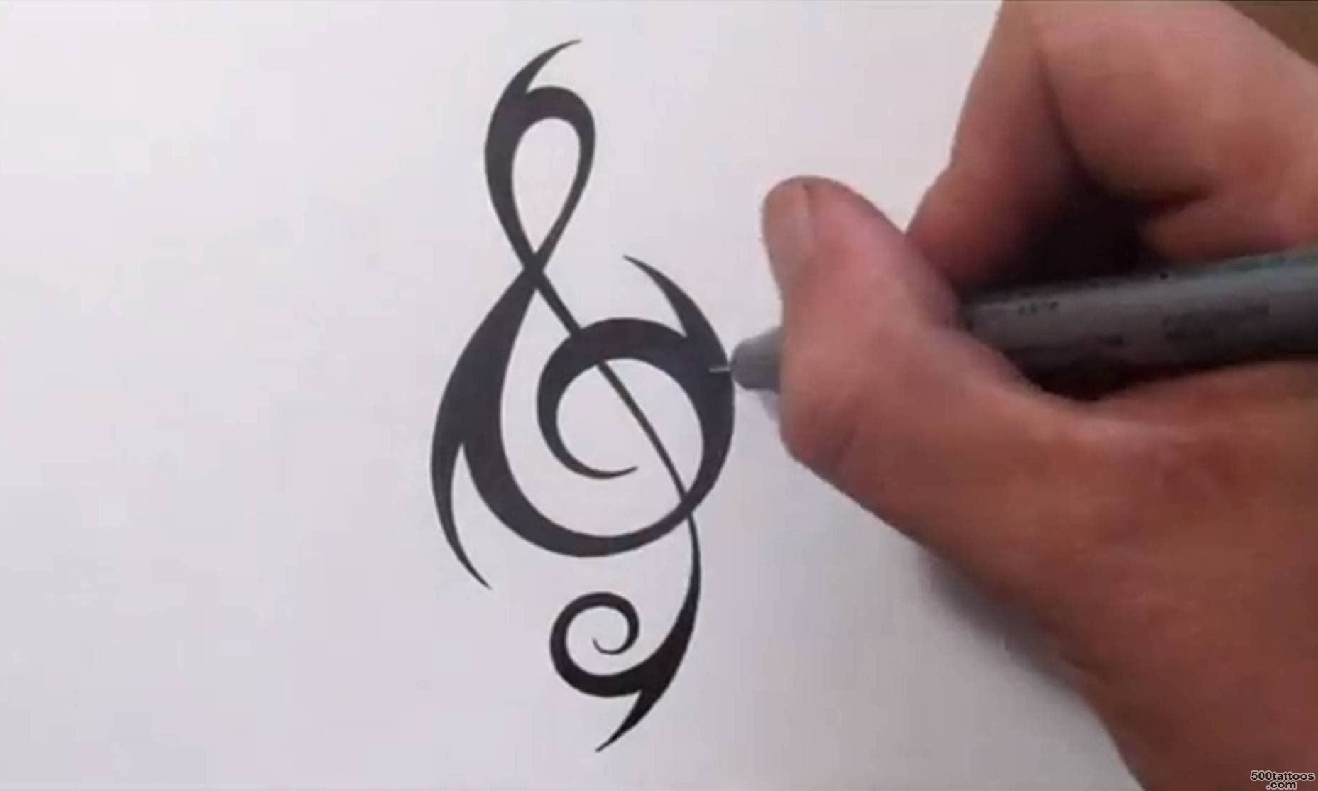 How To Create a Unique Tribal TREBLE CLEF Tattoo Design   YouTube_6