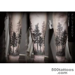 Beautiful black ink trees tattoo on forearm   Tattooimagesbiz_8