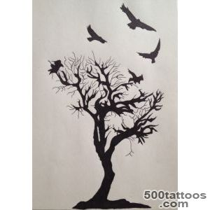 Crow On Tree Tattoo Sketch   Tattoes Idea 2015  2016_38