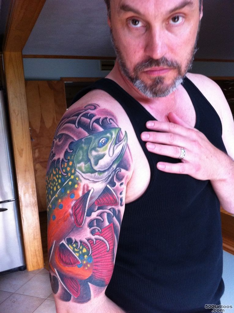 trout tattoo  Japanese style half sleeve brook trout May 12…  Flickr_38