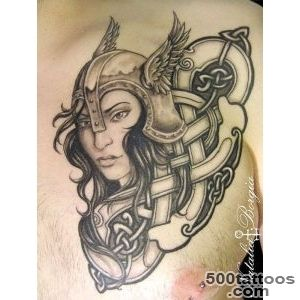 Black and grey viking Valkyrie tattoo on chest  My Tattoo Work _12