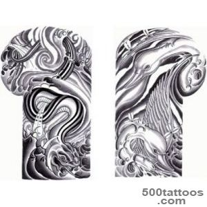 Grey Water Waves Swan Snake Shoulder Suit Tattoo Design   Tattoes _41