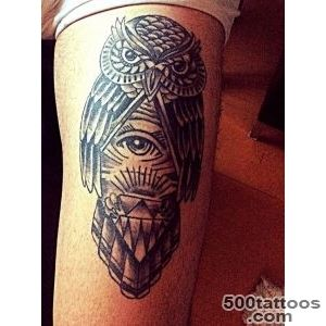 Owl   thigh tattoo   clairvoyance, deception, messenger _1