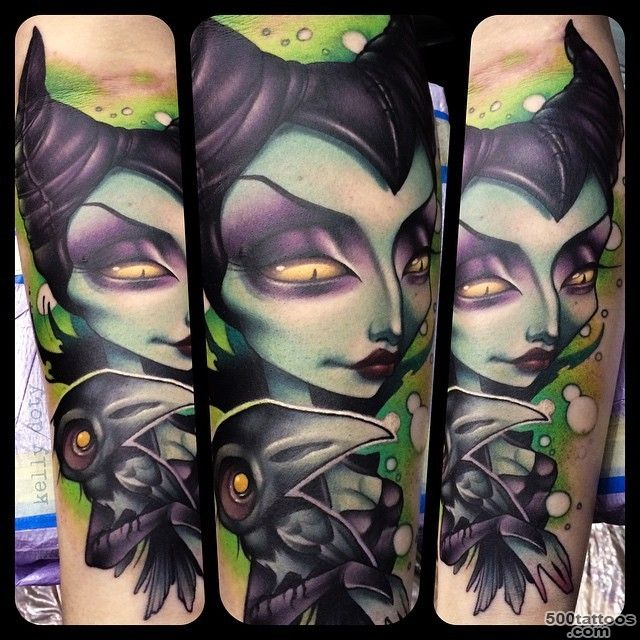 Cartoon like colored evil witch tattoo on forearm with antic key ..._40