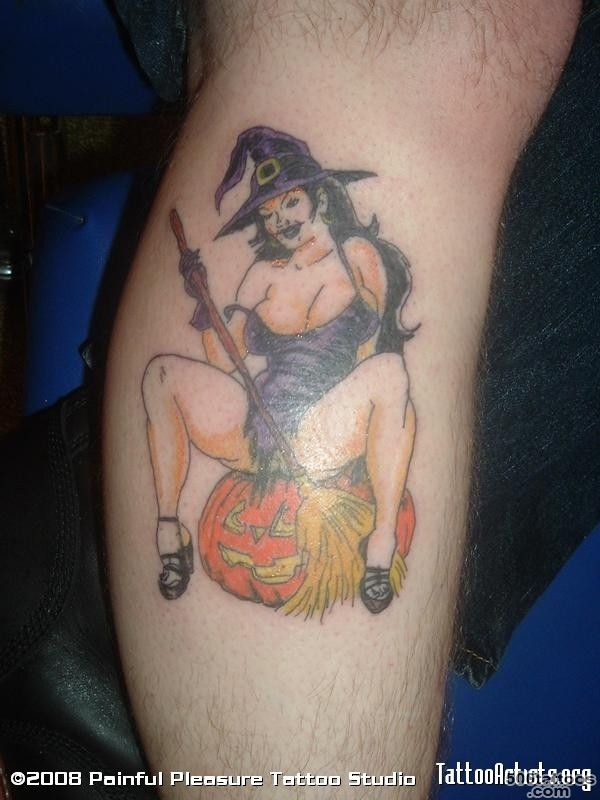 Witch With Tail Tattoo On Sleeve_31