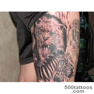 Lion And Zebra Tattoo On Leg  Tattoobitecom_12